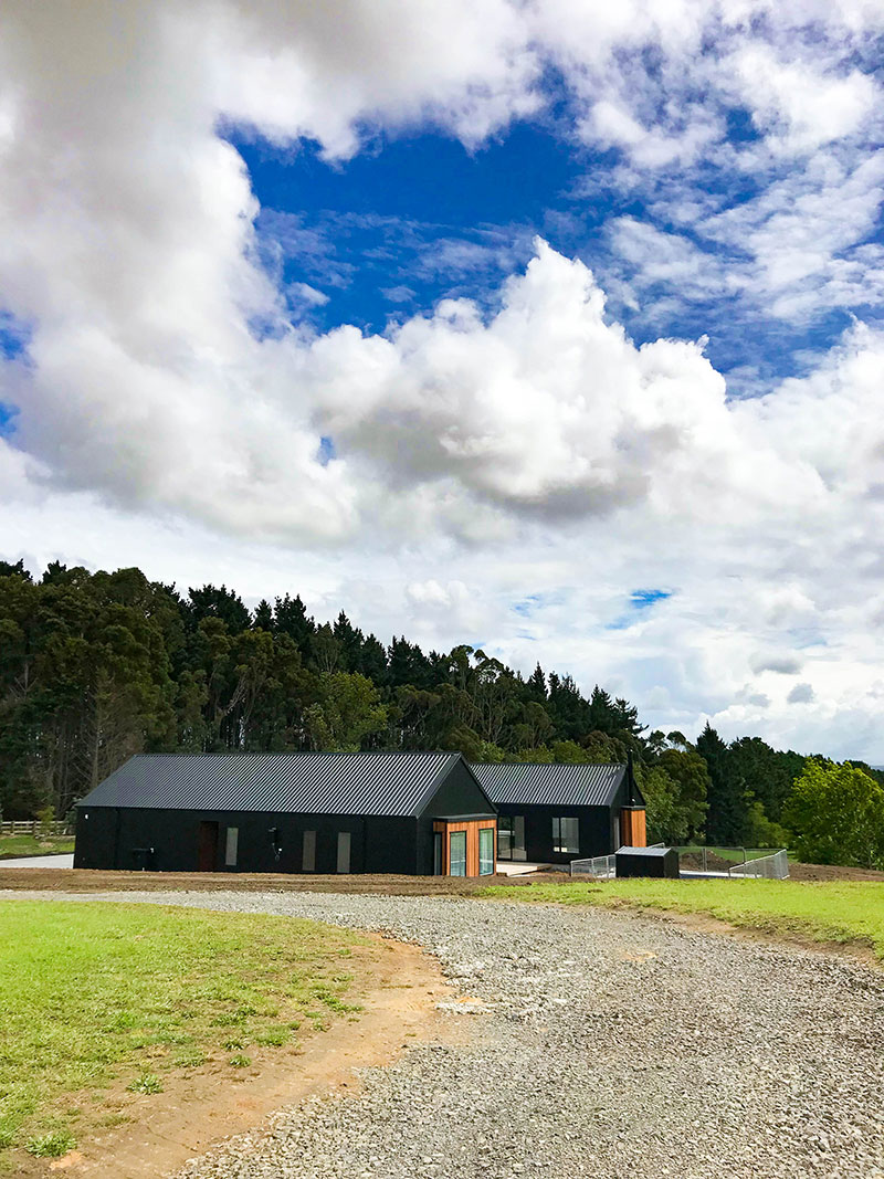 beautiful modern barn style home with swimming pool. Black coloursteel and cedar