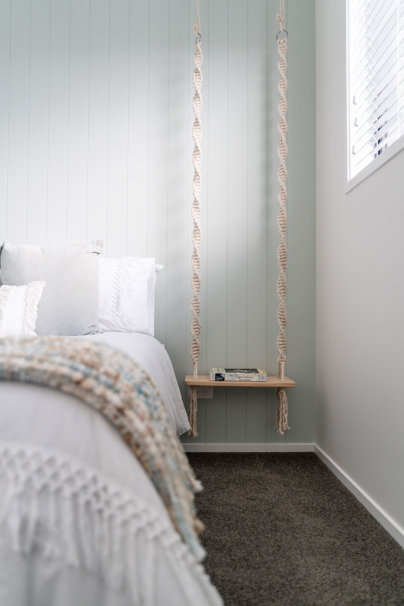 duckegg, hardigroove feature wall in bedroom with swing side tables with natural rope and white cotten duvet